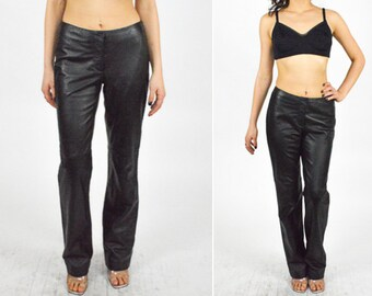 1990's BLACK LEATHER Boot Cut Skinny Pant. High Rise Waist. Slight Flare. 90's Grunge Leather. MINIMALIST