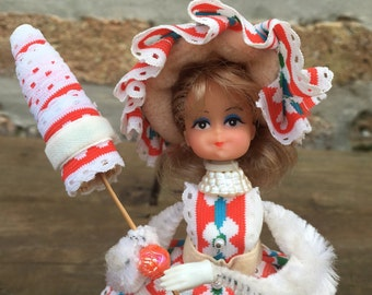 Lil MISSY beaded DOLL - lovely lady with PARASOL - Walco - southern belle - red - white - turquoise - blonde - vintage ribbon -  pins- beads