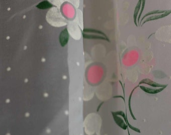 CURTAINS - SHEERS - 3 panels - DAISIES - flocked  - bright pink - white - green