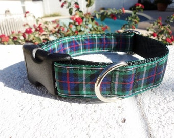 "Tartan McKenzie, Clan Dog Collar, 1"" Side Release buckle or Martingale collar - outlander - s-xl"