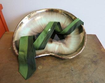 Necktie neck tie SKINNY mod two tone green 1960s indie