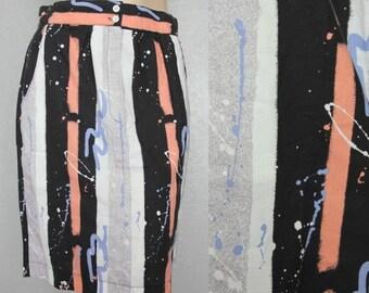 """20% OFF 1980's Paint Splatter Print Vintage Pencil Skirt Sz M 28"""" Waist by Maeberry Vintage"""