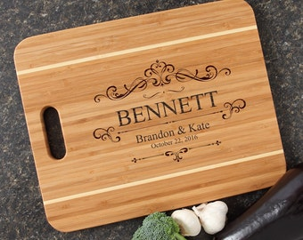 Personalized Cutting Board Personalized Wedding Gift Engraved Bamboo Cutting Boards Wedding Gifts Housewarming Gifts-15 x 12 Handle D35