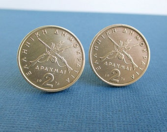 GREECE Coin Cuff Links - Vintage Greek 2 Drachmai Coins, Repurposed Gold Tone