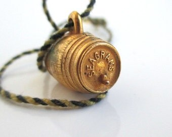 Seagrams Ancient Bottled Gin Charm w/ Cord - Vintage