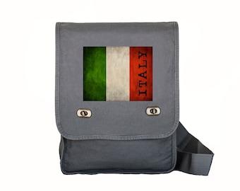 Canvas Field Bag - Itaky - Book Bag - Computer Bag - Italian Flag - Gray