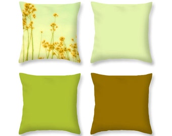 Pillow Cover Set - Floral Photo Pillow - Light Sage Pillow - Art Pillow Cover - Dark Gold Pillow - Bright Avocado - Mix and Match - Flowers