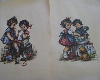 Childhood Vintage Prints,children,play, art prints
