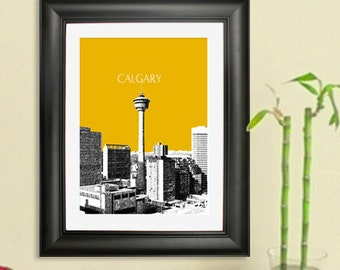 Calgary Skyline Poster #3 - Calgary Canada Skyline Art Print - 8 x 10 Choose Your Color