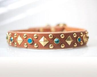 Blue Opal Dog Collar, Jeweled Dog Collar Leather Turquoise Rhinestone Dog Collar Leather Dog Collar Dog Collars Swarovski Dog Collar Stylish