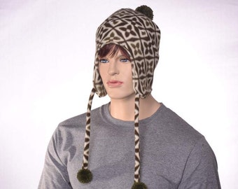 Pompom Ear Flapped Beanie Green Ivory Nordic Print Cap Pompom Ear Flap Hat Tie on Hat Adult Men Womens Hat Bobble Hat Ski Cap