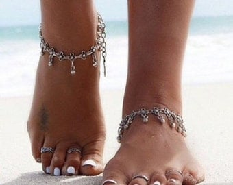 A pair of Tiny Flower Anklets | Vintage Style Silver Plated Anklet | Gypsy Boho Hippie Anklet | Beach wedding foot jewelry by Inali