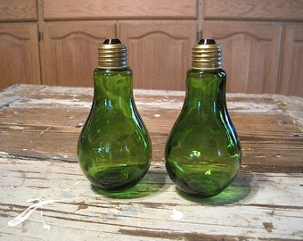 Vintage Green Glass Light Bulb Salt & Pepper Shakers, Japan
