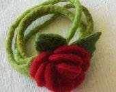 Rose Bracelet - Felted - Loop Bracelet