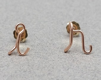 14K Rose Gold Filled Lowercase Initial Stud Earrings