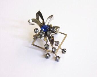 Small Brooch with Sky Blue Rhinestones