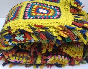 Vintage Granny Square Crochet Afghan