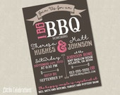 Rustic Pink and Grey I Do BBQ Wedding Invitation - Wedding Shower Invitation - Country Wedding Invitation Printable Wedding Invitation