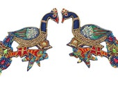 Decorative Appliques Multicolor Peacock Patch Appliques Craft Supplies Sequins Bullion Crafting Beaded Peacock Appliques By 1 Pair PA217A