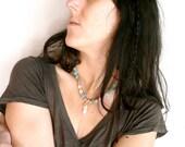Necklace opalite heart chakra  ( amazonite, wood, anahata, yoga ) 01