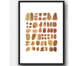 Abstract painting Watercolor brown pebbles, watercolor print, watercolor art, pebbles painting, zen painting