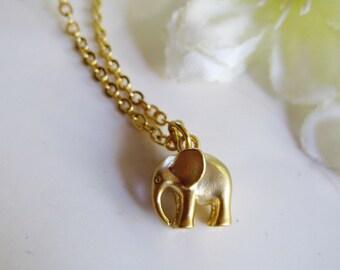 Gold Elephant Necklace, Baby Elephant charm, African Elephant Necklace, Asian Elephant Jewelry