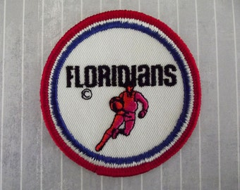 """Vintage 3"""" Sew On The Floridians Patch, Miami Basketball Applique, ABA Throwback Team Collectible, American Basketball Association"""