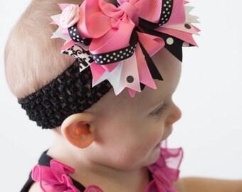 Girls Hot Pink & Black DamaskHairbow