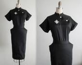 ON HOLD 50's Dress // Vintage 1950's Black Fitted Cheongsam Style Uniform Dress