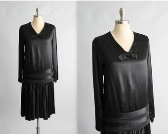 STOREWIDE SALE 20's Satin Dress // Vintage 1920's Black Satin Dropped Waist Evening Dress M L
