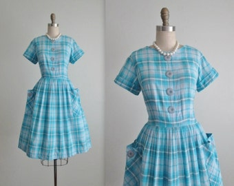50's Shirtwaist Dress // Vintage 1950's Blue Plaid Cotton Garden Party Full Shirtwaist Casual Dress M