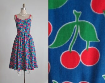 Vintage Cherry Dress // Vintage 70's Cherry Novelty Print Casual Day Summer Sun Dress XS S M