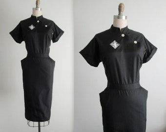 ON HOLD 50's Dress // Vintage 1950's Black Fitted Cheongsam Style Uniform Dress