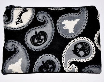 Paisley Ghosts and Skulls Zipper Pouch Coin Purse