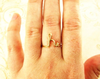 Letter Ring, Initial Ring, 14K Gold or Sterling, A - Z Letters Custom Made Simple Ring Pinky Ring Bridesmaid Thank You Ring Gift Under 10