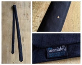 "Vintage Wembley Tie * Black Skinny Necktie * 1 1/2"" Wide * 1960s Slim Cravat"