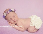 Lavender Lilac Purple Newborn Flower Crown - Baby Flower Crown - Newborn Flower Crown Headband - Lilac Lavender Purple Flowers
