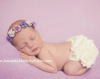Lavender Lilac Purple Newborn Flower Crown - Baby Flower Crown - Newborn Flower Crown Headband - Lilac Lavender Purple Flowers