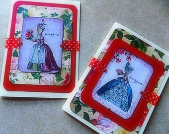 Marie Antoinette Inspired  Valentines Blank Greeting Cards - All Occasion!