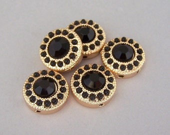 5 tiny black and gold 2 hole beads, SMALL round black two hole slider beads or 2 hole buttons, black and gold