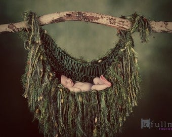 Forest Photo Prop Hammock Newborn Baby Photography Prop Blanket Olive Moss Hanging Vines Woodland Fairy Prop