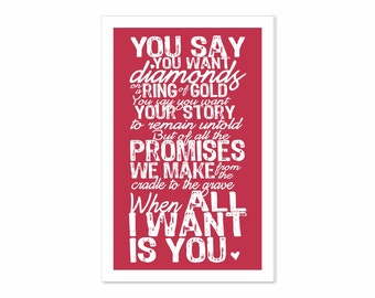 Printable Digital Download - Typography Art Greeting Card - All I Want Is You v5 - romantic music inspired print your own card in red