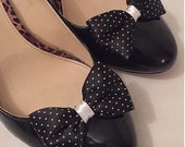 Polkadot Shoe Clips Black White Spot Dots Dotty Clips For Your Shoes