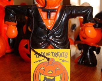 "Rare E. Rosen Jack ""O"" Lantern Scarecrow with Tag! Meow! Candy Holder"