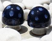 Ceramic Mushrooms, Salt Pepper Shakers, Cobalt Blue, Knickknacks, Kitchen Decor, Dining Serving