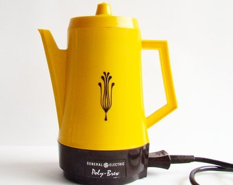 1970s Bright Yellow Coffee Percolator, General Electric Poly Brew, Sunflower Yellow, Retro Kitchen, Electric Coffee Brewing Jug,