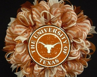 ON SALE College Teams, Texas Longhorns, Poly Mesh Wreath, College Football, Mesh Supplies (1093)