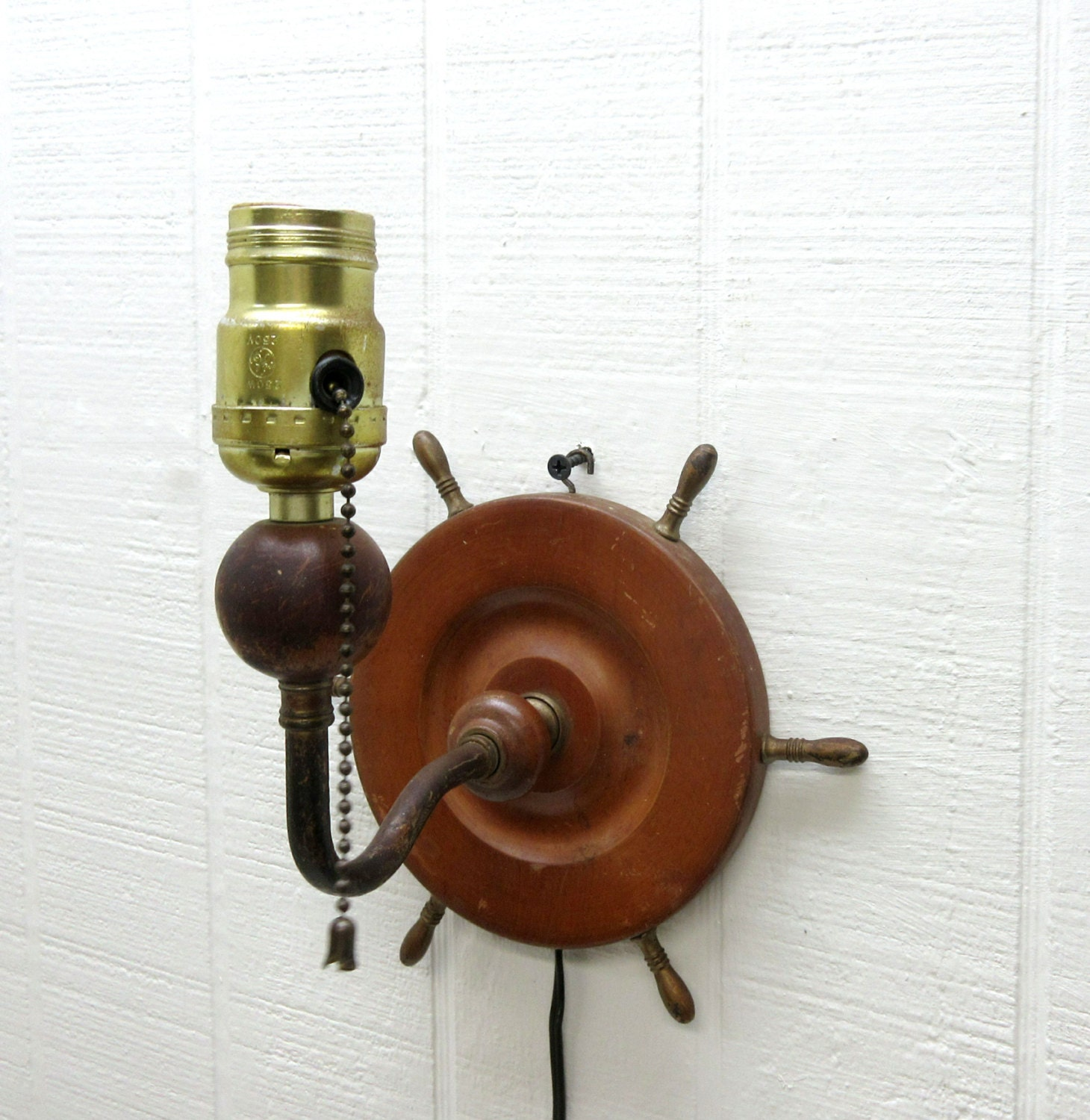 Vintage Nautical Wall Lamp Wood Ship Wheel Wall Lamp Ship