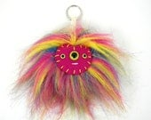 Rainbow Pom Pom Keychain Faux Fur Monster Keychain Kawaii bag accessory bag accessories handbag charm Triclops Cyclops Pride