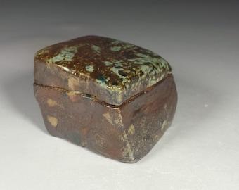 Small ceramic jewelry box. Little trinket jar.  Soda fired ceramic box.  Little Lidded box.